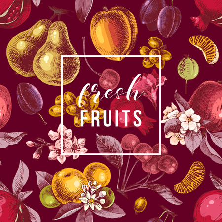 Illustration for Fresh fruits emblem on seamless pattern with hand drawn colorful fruits. Vector illustration - Royalty Free Image