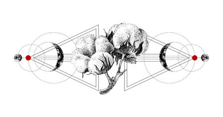 Ilustración de Geometry tattoo with hand drawn cotton - Imagen libre de derechos