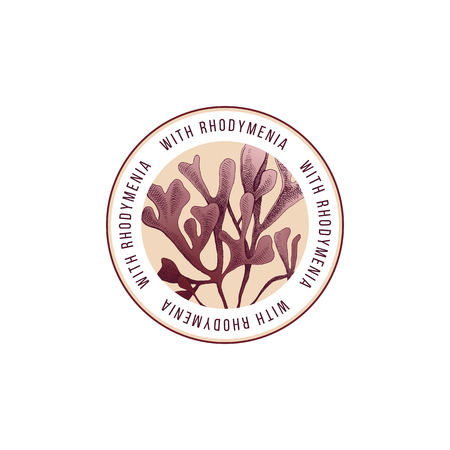 Illustration pour Round emblem with hand drawn rhodymenia palmata seaweed. Vector illustration - image libre de droit