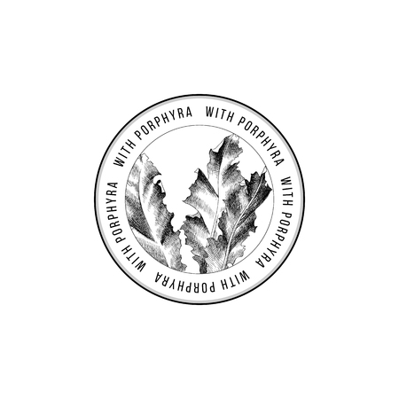 Illustration pour Round emblem with hand drawn Porphyra seaweed. Vector illustration - image libre de droit
