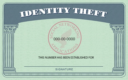 Identification Card modeled after the American Social Security Card, but boasting  Identity Theft  on top in place of  Social Security
