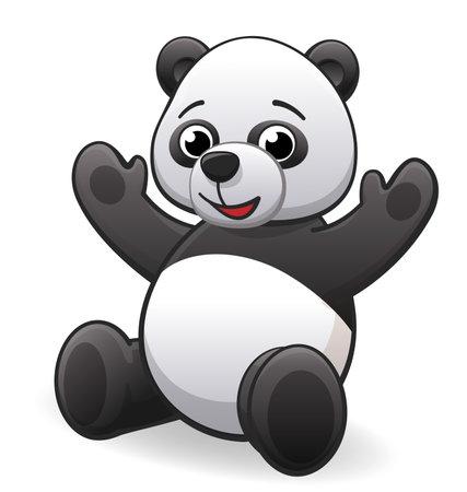 Photo pour cute happy cartoon panda character sitting vector - image libre de droit