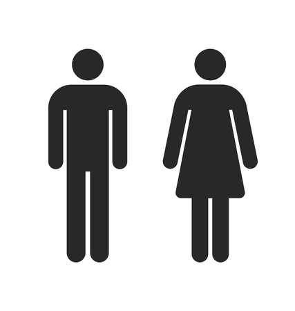 Ilustración de restroom toilet symbols outlines male and female simple silhouettes vector - Imagen libre de derechos
