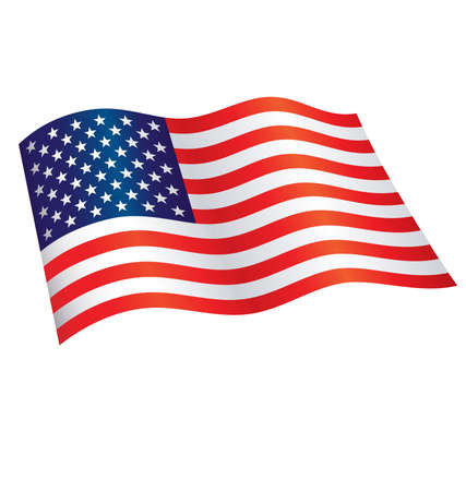Illustration pour American Star Spangled Banner Flag of united states of america flying waving flowing usa vector - image libre de droit