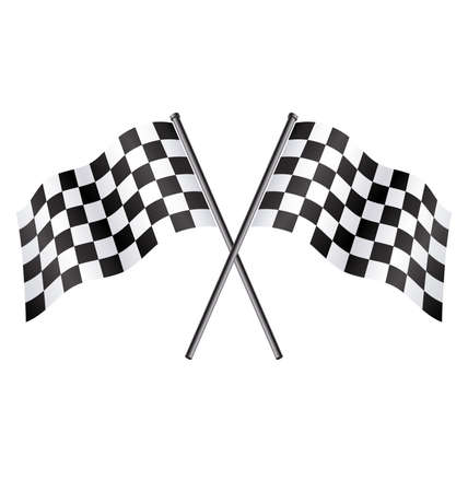 Illustration pour twin double chequered checkered racing flags on flagpoles flying vector - image libre de droit