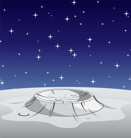 Illustration pour lunar moon surface crater cartoon vector illustration - image libre de droit