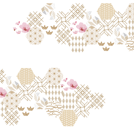 Ilustración de Cherry blossom flower pattern with gold Japanese graphic elements for poster, wallpaper, cover page design. - Imagen libre de derechos