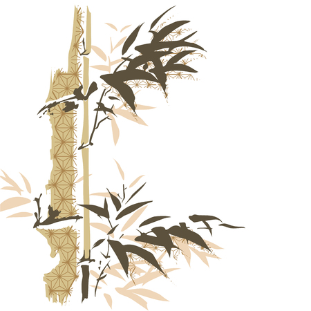 Illustration pour Bamboo template vector. Chinese laves background with Japanese pattern. - image libre de droit