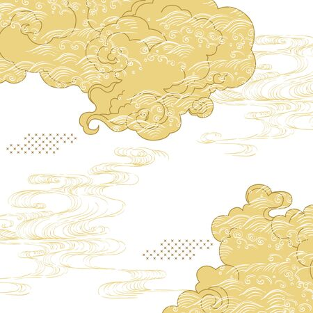 Illustration pour Japanese cloud with hand drawn wave template vector. Gold Asian background. - image libre de droit