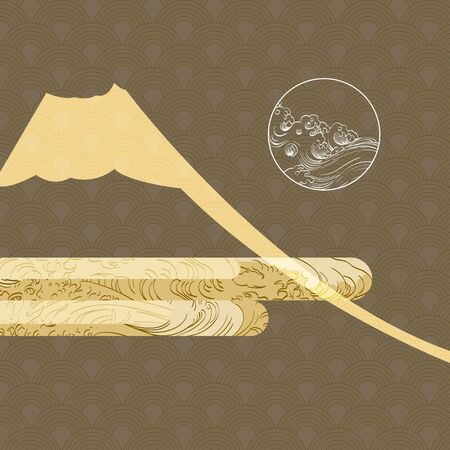 Illustration pour Japanese template vector. Fuji mountain elements with wave pattern background. - image libre de droit