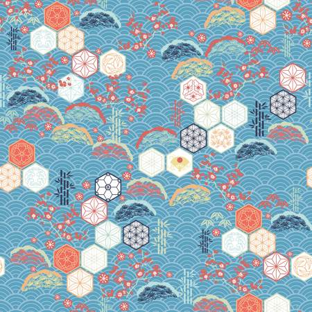 Ilustración de Japanese pattern vector. Cherry blossom flower, pine tree, Kumiko icons and bamboo elements motif background. - Imagen libre de derechos