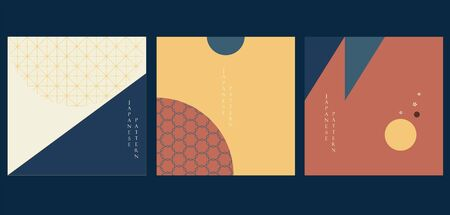 Illustration pour Geometric background with Japanese pattern vector. Abstract template with circle and triangle elements. Vintage card layout design - image libre de droit