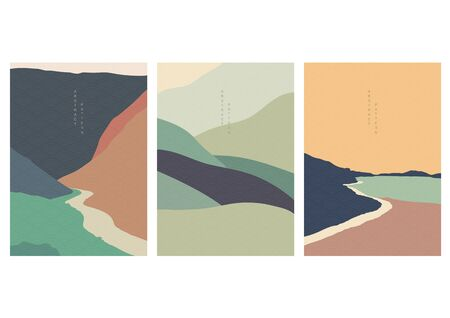 Illustration for Art landscape background with Japanese wave pattern vector. Natural wallpaper with curve elements. Abstract art template in vintage style. - Royalty Free Image