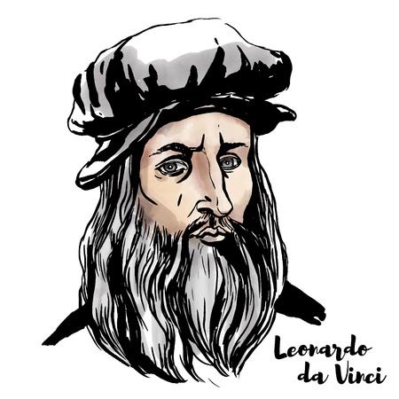 Illustration pour Leonardo da Vinci watercolor vector portrait with ink contours. - image libre de droit