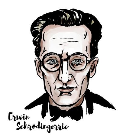 Ilustración de Erwin Schroedinger watercolor vector portrait with ink contours - Imagen libre de derechos