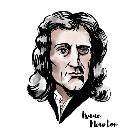 Illustration pour Isaac Newton watercolor vector portrait with ink contours. English mathematician, astronomer, theologian, author and physicist. - image libre de droit