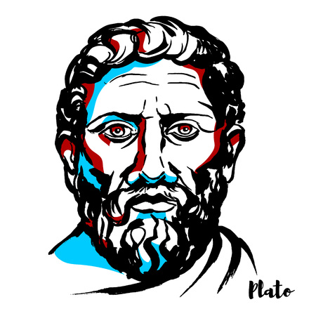 Illustration pour Plato engraved vector portrait with ink contours. Philosopher in Classical Greece and the founder of the Academy in Athens, the first institution of higher learning in the Western world. - image libre de droit