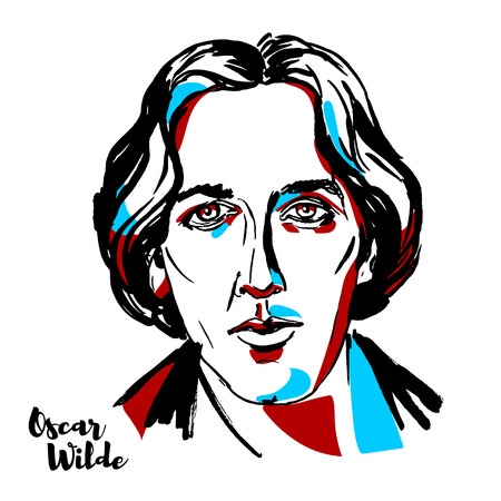 Illustration pour MOSCOW, RUSSIA - AUGUST 21, 2018: Oscar Wilde engraved vector portrait with ink contours. Irish poet and playwright. - image libre de droit