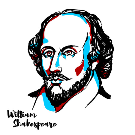 Illustration pour William Shakespeare engraved vector portrait with ink contours. English poet, playwright and actor, widely regarded as both the greatest writer in the English language and the world's pre-eminent dramatist. - image libre de droit