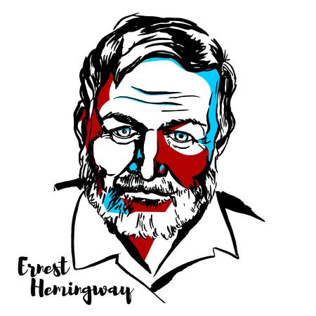 Illustration pour MOSCOW, RUSSIA - JUNE 25, 2018: Ernest Hemingway engraved vector portrait with ink contours. American novelist, short story writer, and journalist. - image libre de droit