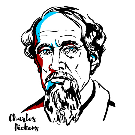 Illustration pour Charles Dickens engraved vector portrait with ink contours. English writer and social critic. - image libre de droit