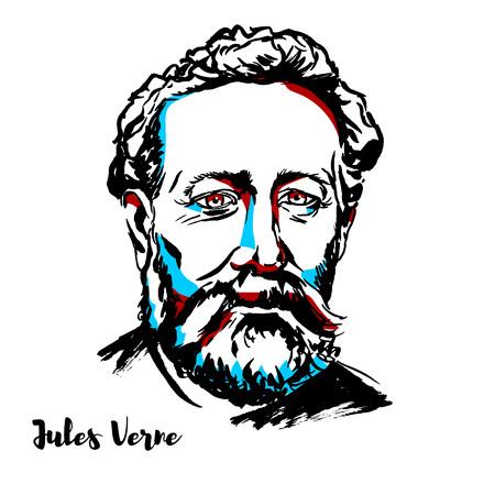 Illustration pour Jules Verne engraved vector portrait with ink contours. French novelist, poet, and playwright. - image libre de droit
