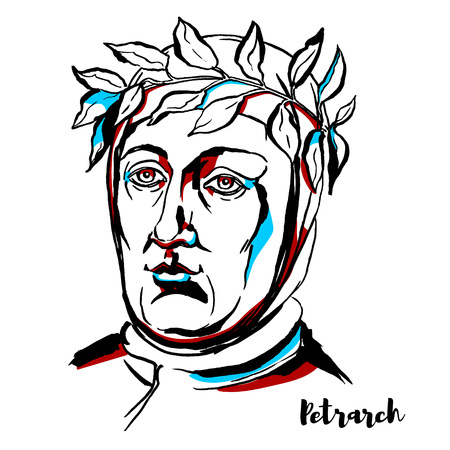 Illustration pour Petrarch engraved vector portrait with ink contours. scholar and poet of Renaissance Italy who was one of the earliest humanists. - image libre de droit