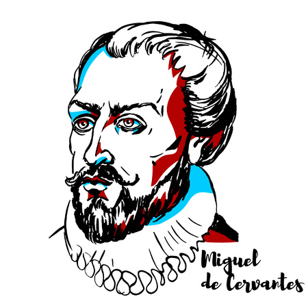Illustration pour Miguel de Cervantes engraved vector portrait with ink contours. Spanish writer who is widely regarded as the greatest writer in the Spanish language and one of the world's pre-eminent novelists. - image libre de droit