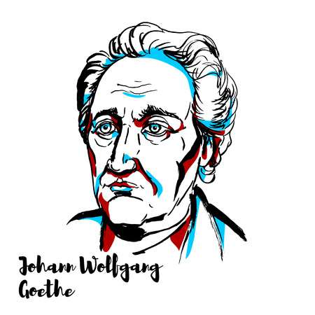 Illustration pour Johann Wolfgang von Goethe engraved vector portrait with ink contours. German writer and statesman. - image libre de droit