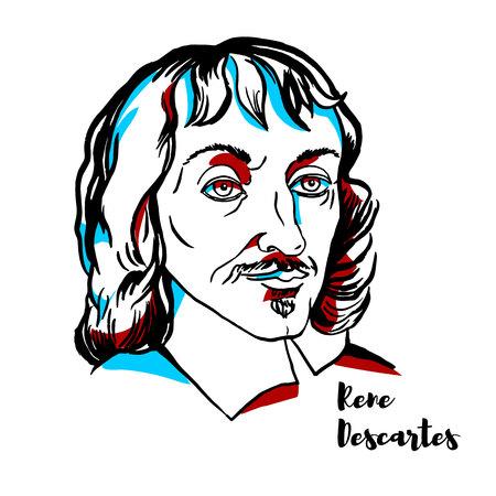 Illustration pour Rene Descartes engraved vector portrait with ink contours. French philosopher, mathematician, and scientist. - image libre de droit
