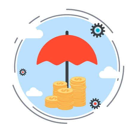 Insurance, funds protection, financial security vector concept