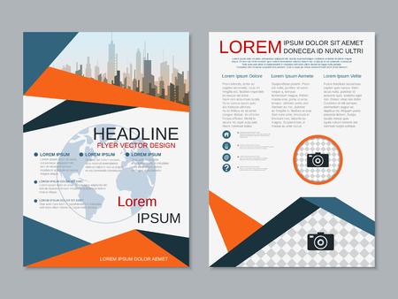 Illustration pour Modern business two-sided flyer, booklet, brochure cover vector design template. A4 format - image libre de droit