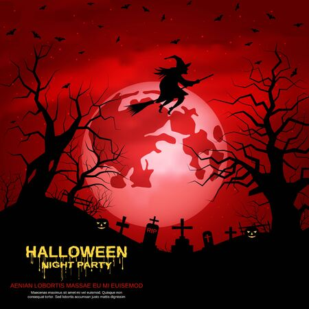 Illustration pour Halloween red scary night vector background - image libre de droit