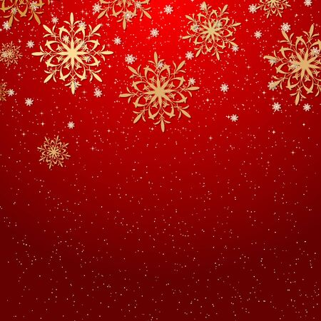 Illustration for Christmas and New Year red vector background with stars and snowflakes - Royalty Free Image