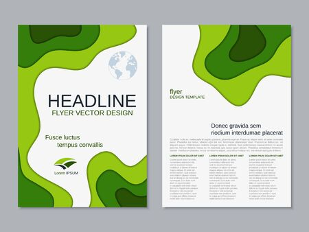 Illustration for Modern geometric business two-sided flyer, booklet, brochure cover vector design template. A4 format - Royalty Free Image
