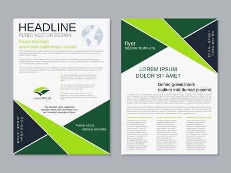 Illustration pour Modern geometric business two-sided flyer, booklet, brochure cover vector design template - image libre de droit