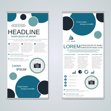 Illustration pour Modern geometric roll-up business banners, two-sided flyer vector design template - image libre de droit