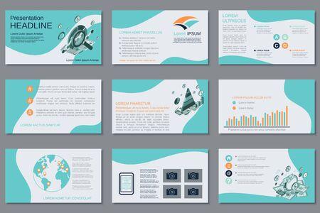 Illustration pour Professional business presentation, slide show, infographic elements, annual report, brochure vector design - image libre de droit