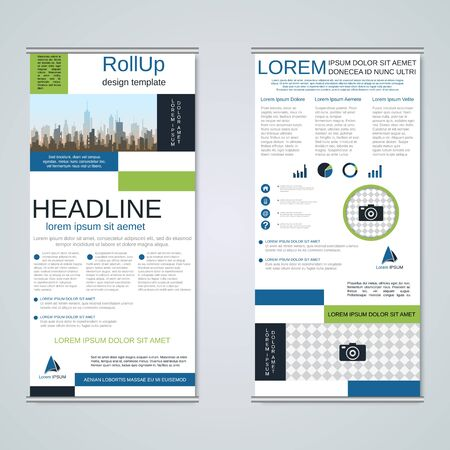 Illustration pour Modern geometric roll-up business banners, two-sided flyer design template - image libre de droit