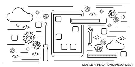 Illustration for Mobile application development thin line art style vector concept illustration - Royalty Free Image