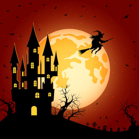 Illustration pour Halloween orange scary night vector background. Dead tree, old cemetery and bats illustration - image libre de droit