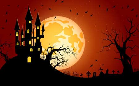 Illustration pour Halloween scary night vector background - image libre de droit