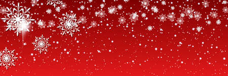 Illustration for Christmas and New Year vector banner template. Red gradient vector background with stars and glitter effect - Royalty Free Image