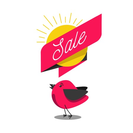 Illustration pour early beard sale illustration with pretty cartoon bird and banner with text - image libre de droit