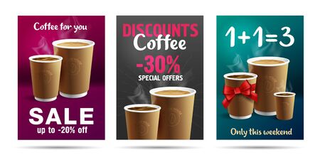 Illustration pour Promotion set of posters or flyers template design for cafe with coffee cups illustrations, buy one get three with red ribbon gift bow or discounts - image libre de droit