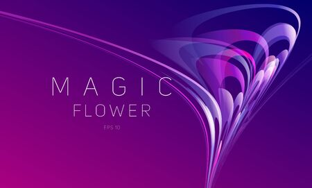 Abstract dynamic composition of gradient blured lines forming flower blossom composition moving in chaotic vectors, wallpaper