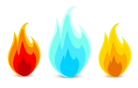 Illustration for three fire icons in a vector - Royalty Free Image