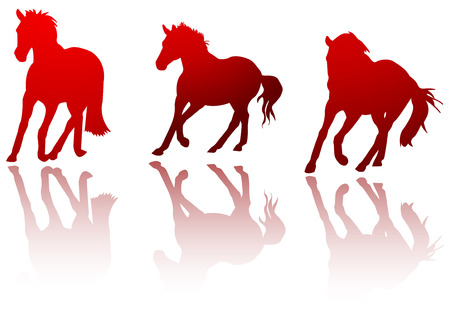 red horses silhouettes