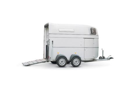 Foto de horse trailer isolated over a white background - Imagen libre de derechos