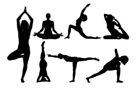 Illustration pour Yoga silhouette. Vector . Figures of girls - image libre de droit